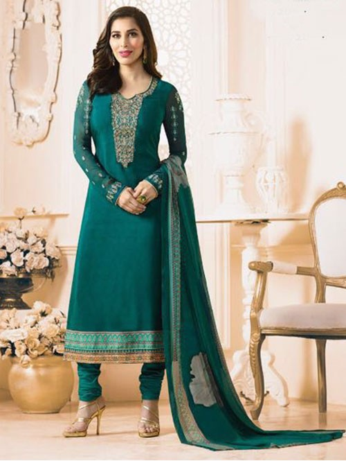 Green Colored Beautiful Embroidered France Creap Salwar Suit