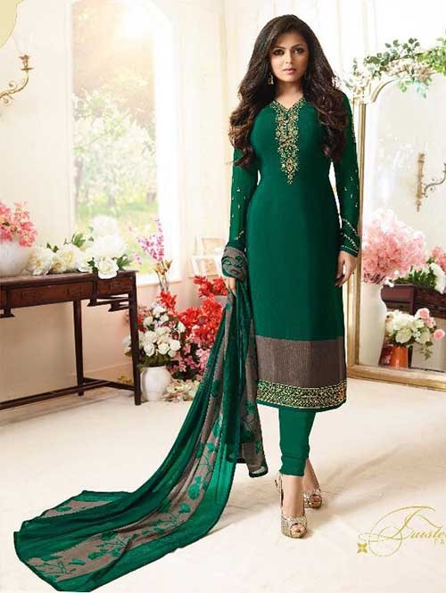 Green Colored Beautiful Embroidered French Creap Salwar Suit With Embroidery Work