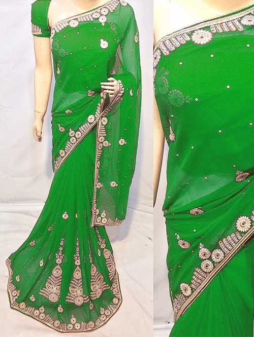 Dark Green Colored Beautiful Embroidered Georgette Saree