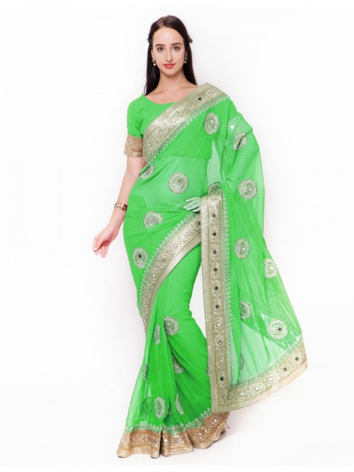 Green Colored Beautiful Embroidered Georgette Saree with embroidered Blouse
