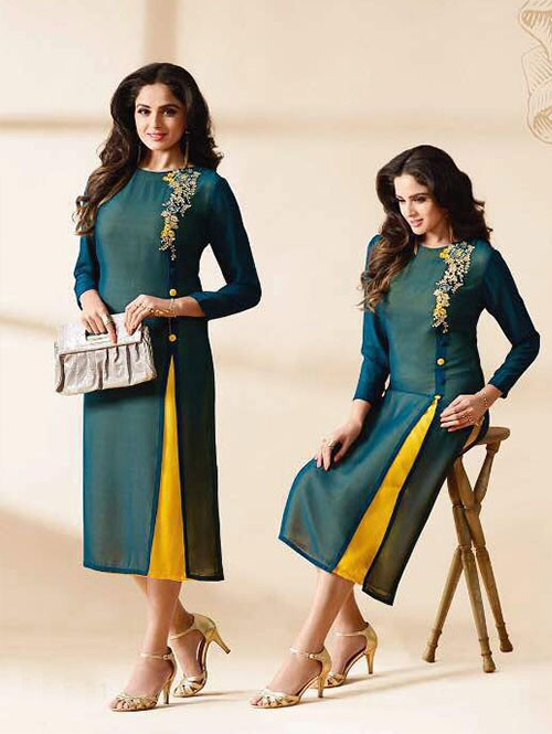 Green Colored Beautiful Embroidered Georgette Stylist Kurti