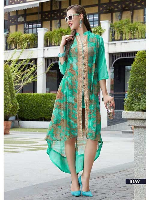 Green Colored Beautiful Embroidered Georgette Stylist Kurti.