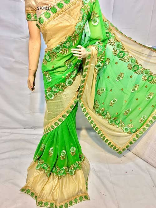 Green Colored Beautiful Embroidered Georgette with Lycra Saree