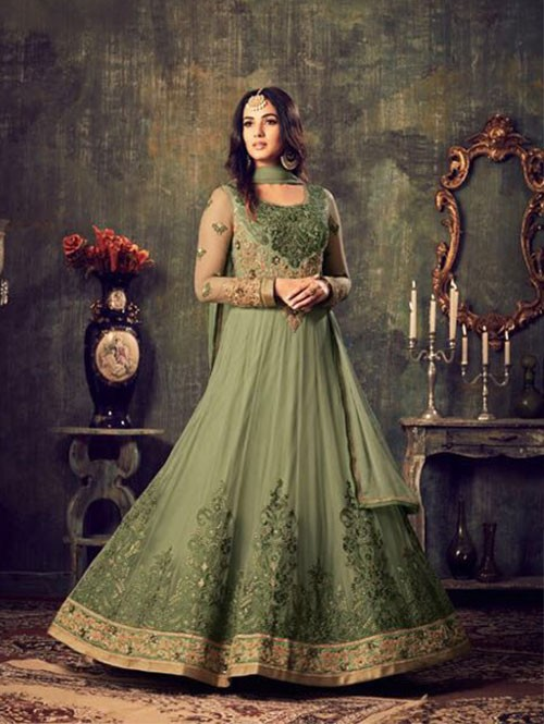 Green Colored Beautiful Embroidered Heavy Net Salwar Suit