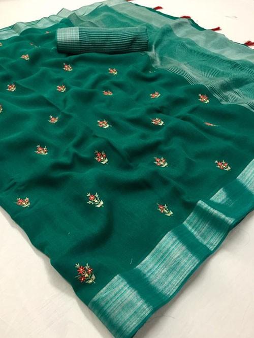 Green Colored Beautiful Embroidered Linen Saree - Kashmiri