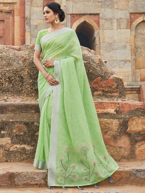 Green Colored Beautiful Embroidered Linen Saree With Mirror Work - Naisha