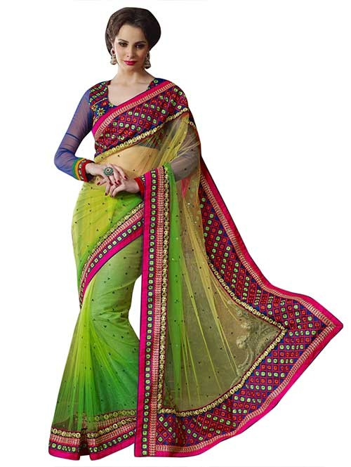 Green Colored Beautiful Embroidered Net Saree