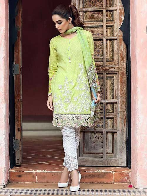 Green Colored Beautiful Embroidered Pakistani Salwar Suit