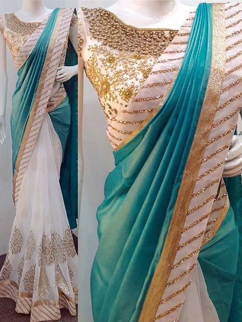 Green Colored Beautiful Embroidered Paper Silk And 60gn Georgette Saree
