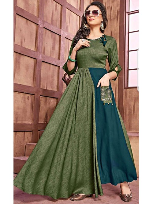 Green Colored Beautiful Embroidered Pleated Asymmetric Rayon Kurti.