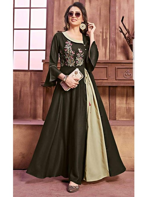 Green Colored Beautiful Embroidered Pleated Rayon Kurti.