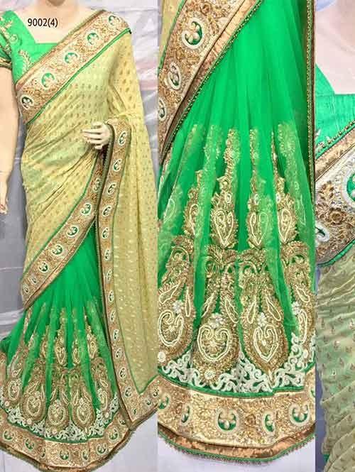 Green Colored Beautiful Embroidered Pure Viscose Pallu and Net Patli Saree