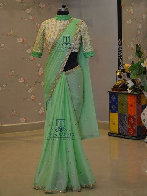 Green Colored Beautiful Embroidered Rangoli Silk Saree