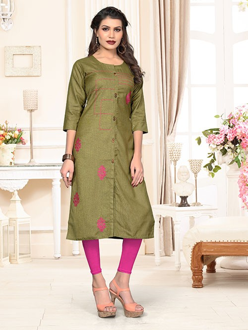 Green Colored Beautiful Embroidered Shirt Style Cotton Kurti