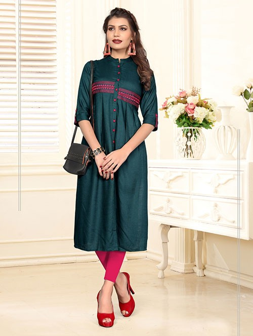 Green Colored Beautiful Embroidered Shirt Style Rayon Kurti