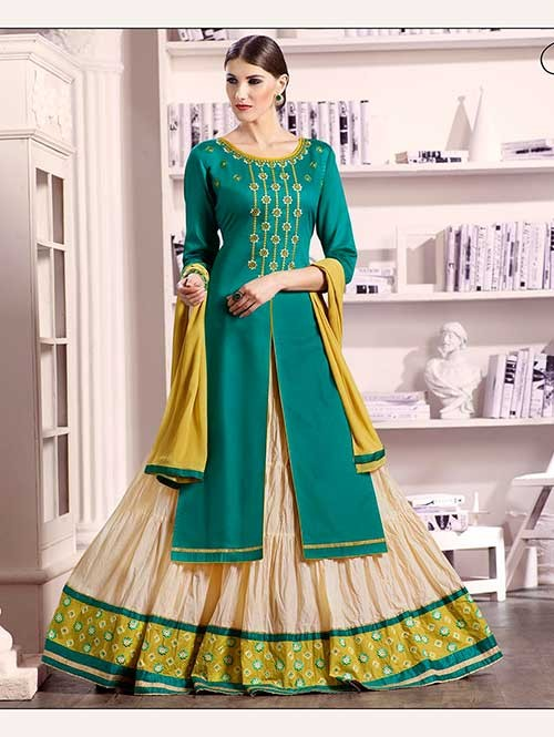 Green Colored Beautiful Embroidered Silk Cotton Lehenga Suit