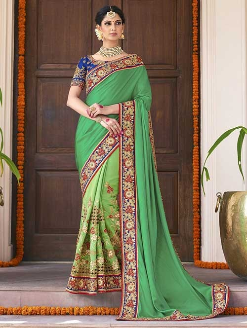 Green Colored Beautiful Embroidered Two Tone Silk Georgette Saree