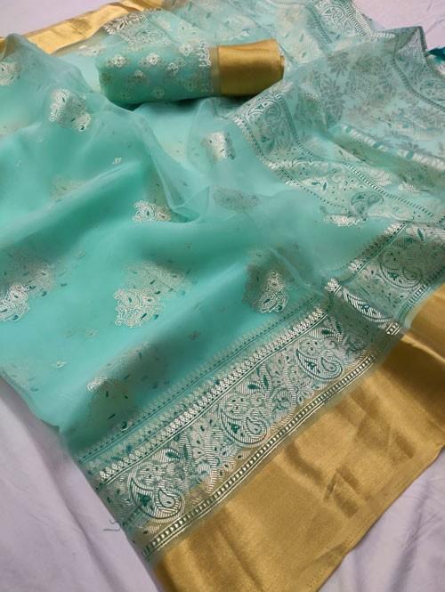 Green Colored Beautiful Foil Printed Organza Saree - Palkhi