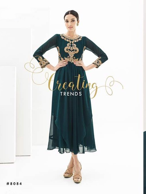 Green Colored Beautiful Georgette Asymmetric Kurti with Heavy Embroidery.