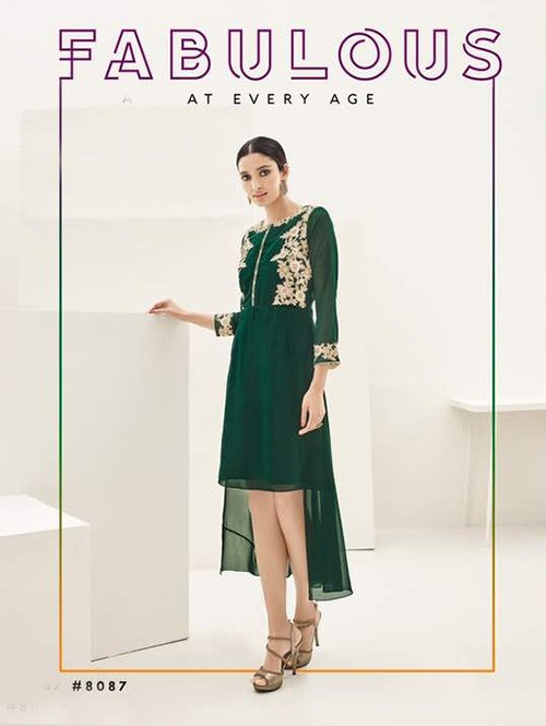 Green Colored Beautiful Georgette High-Low Kurti with Heavy Embroidery