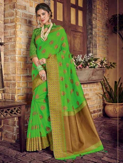 Green Colored Beautiful Hand Dyeing Soft Silk Saree - Rani Jodha