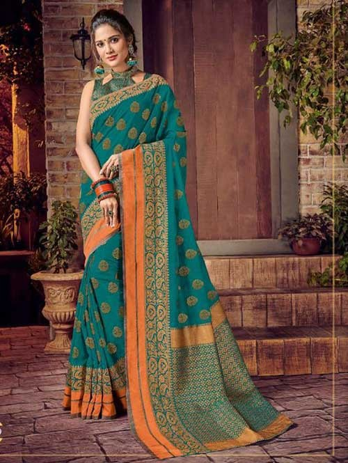 Green Colored Beautiful Hand Dyeing Soft Silk Saree - Rani Jodha
