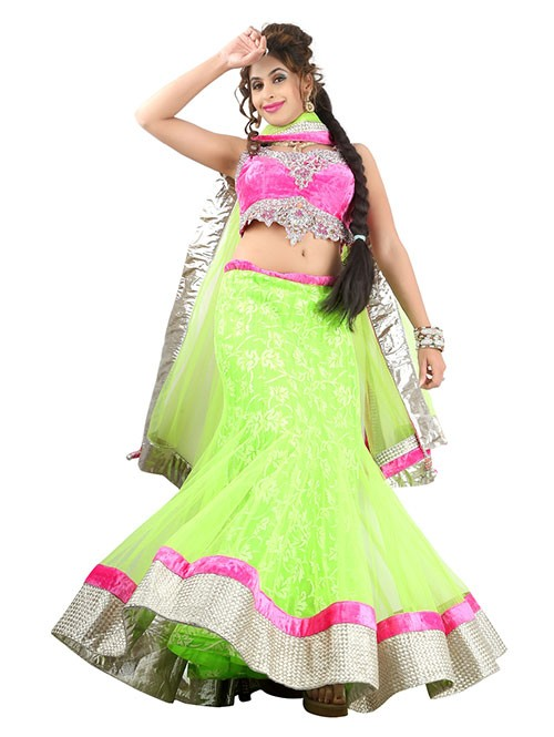 Green Colored Beautiful Heavy Embroidered Net Lehenga With Beautiful Velvet Choli
