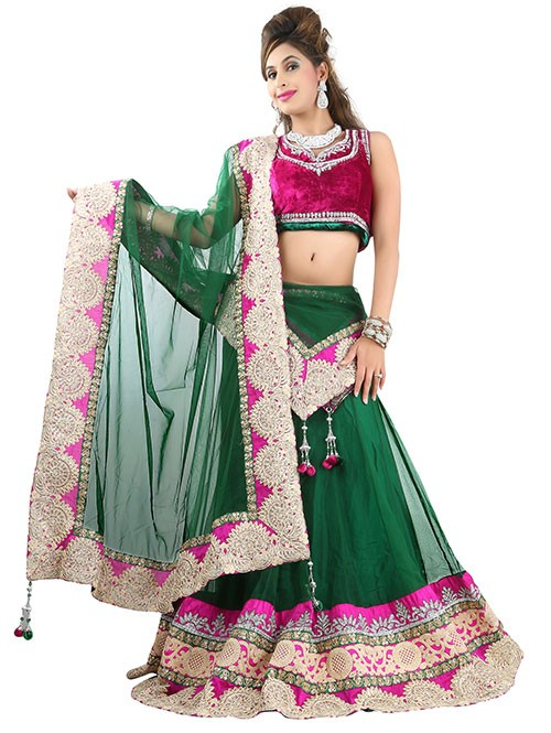 Green Colored Beautiful Heavy Embroidered Net Lehenga