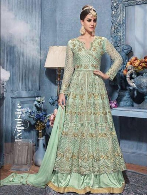 Green Colored Beautiful Heavy Embroidered Net Suit.