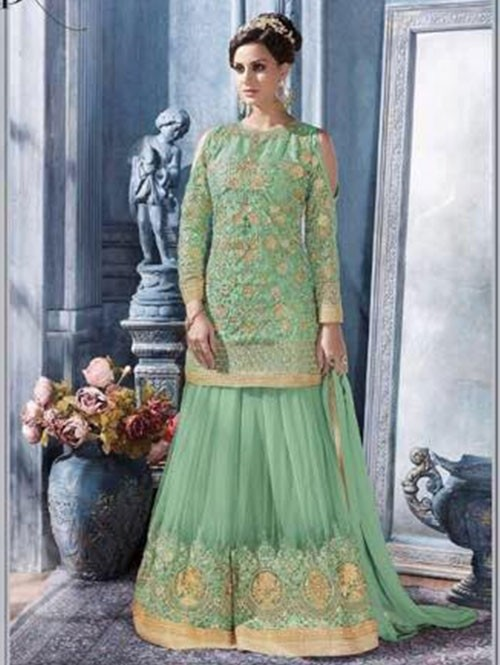 Green Colored Heavy Embroidered Net Suit With Beautiful Plazzo.