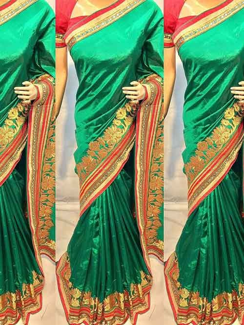 Green Colored Beautiful Heavy Embroidered Original Saree.