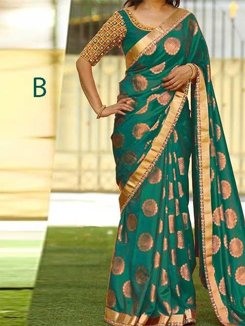 Green Colored Beautiful Jacquard Silk Saree
