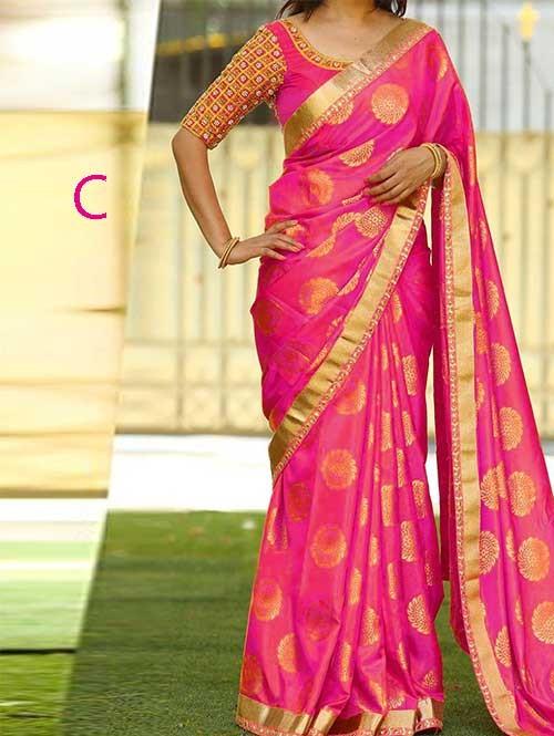 Pink Colored Beautiful Jacquard Silk Saree