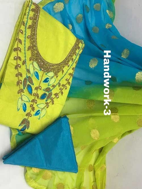 Green Colored Beautiful Khatali Work Chanderi Cotton Dress Material