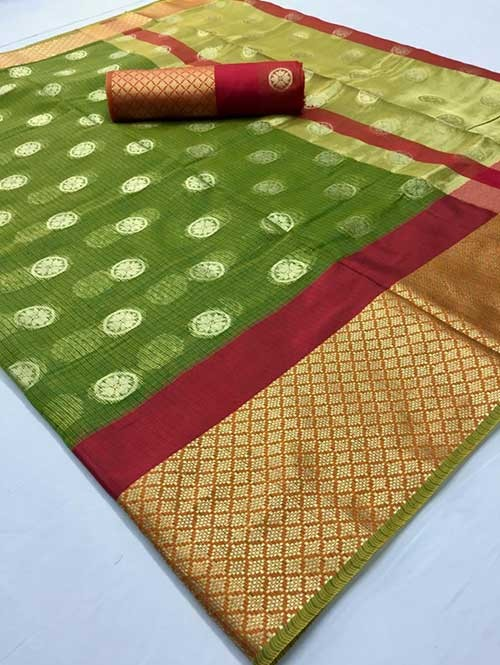 Green Colored Beautiful Kota Silk Zari Weaving Saree Online