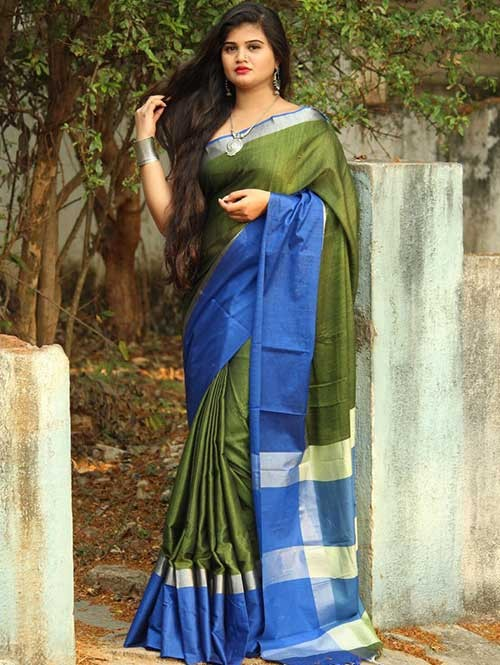 Green Colored Beautiful Linen Saree With Running Blouse