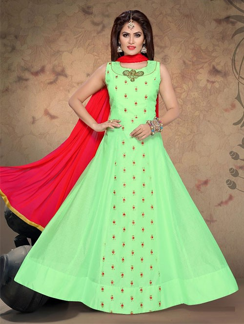 Green Colored Beautiful Neck and Yoke Embroidered Ready Made Silk Anarkali Suit With Matching Bottom and Dupatta