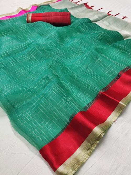 Green Colored Beautiful Organza Chex Saree - Miraki
