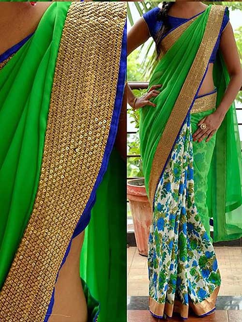 Green Colored Beautiful Printed 60m Georgette Saree