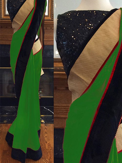 Green Colored Beautiful Embroidered 60m Georgette Saree