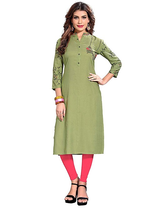 Green Colored Beautiful Printed and Embroidered Straight Rayon Kurti