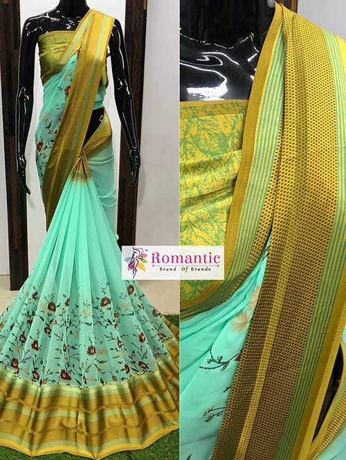 Green Colored Beautiful Printed Georgette Saree With Satin Patta - Chameli