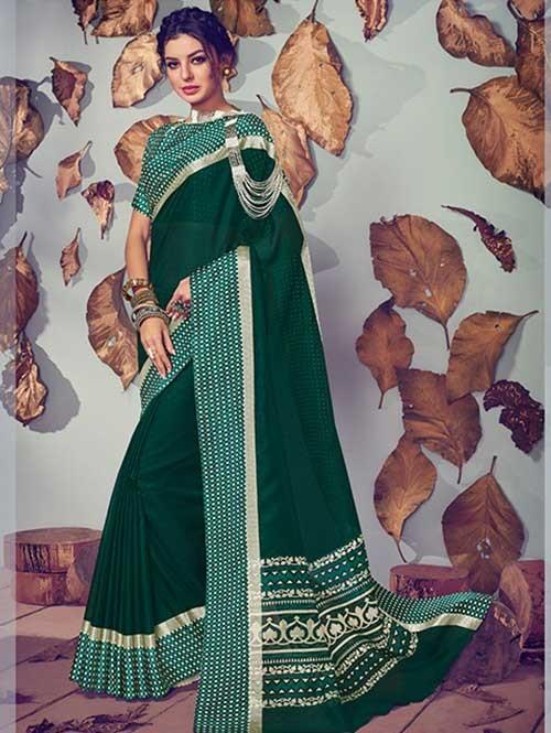 Green Colored Beautiful Printed Kota Silk Saree