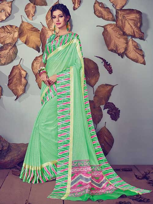 Green Colored Beautiful Printed Kota Silk Saree