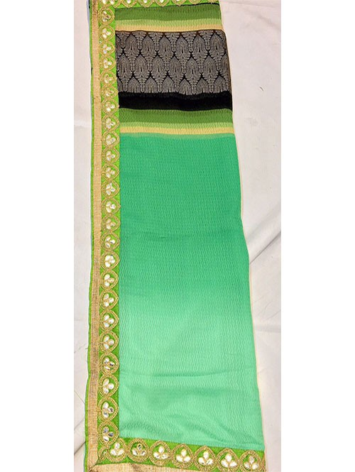 Green Colored Beautiful Printed Pure chiffon soothe fabric Saree which has Beautiful Embroidered Border.