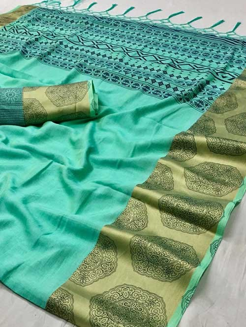 Green Colored beautiful Printed Silk Saree - Nandini