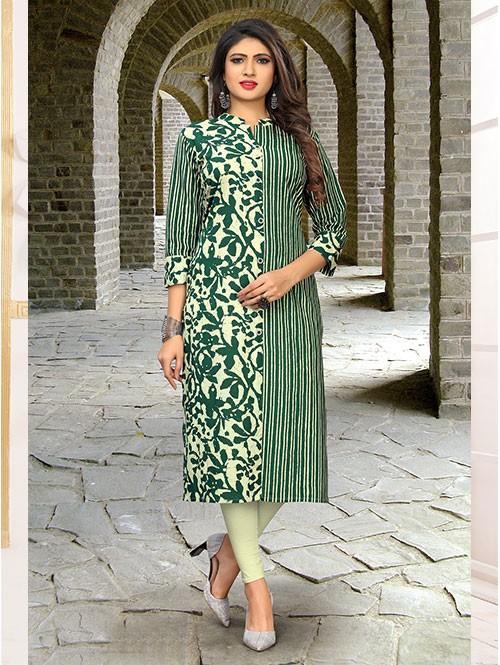Green Colored Beautiful Printed Straight Cotton Kurti