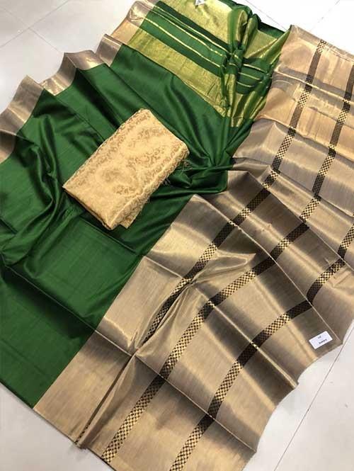 Green Colored Beautiful Pure Silk Cotton Saree