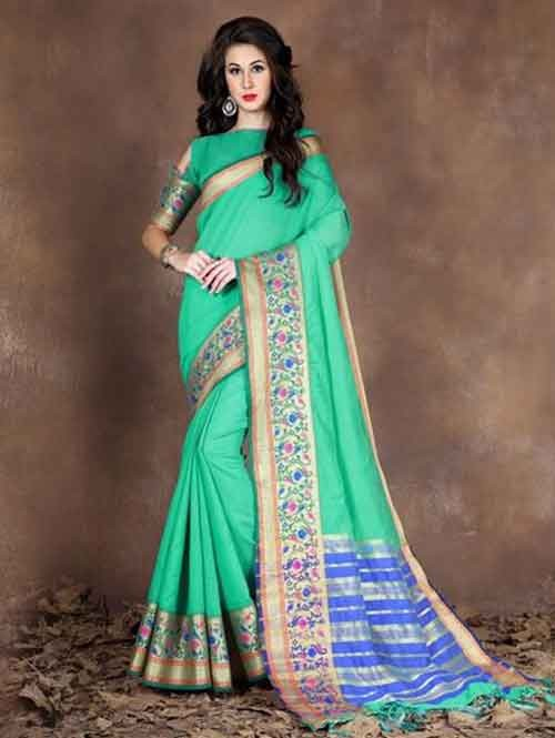 Green Colored Beautiful Pure Soft Cotton Saree With Exclusive Latkan