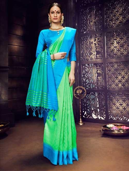 Green Colored Beautiful Raw Silk Saree